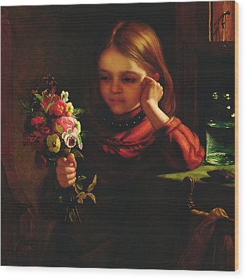 Girl With Flowers Wood Print by John Davidson