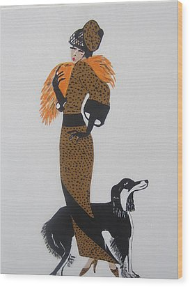 Wood Print featuring the painting Girl With Orange Fur by Nora Shepley
