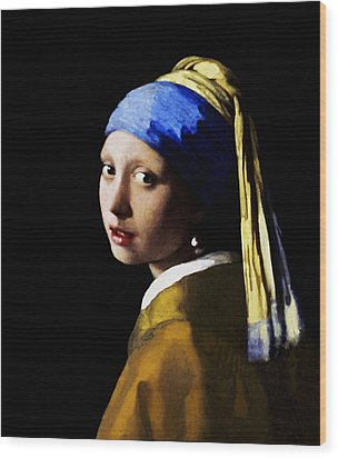 Wood Print featuring the digital art Girl With Pearl Ear Ring by Johannes Vermeer