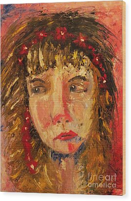 Girl With Red Flowers In Her Hair Wood Print by Judy Morris