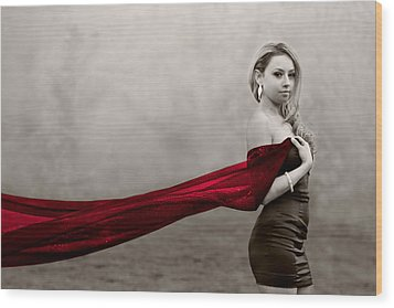 Girl With Red Scarf Wood Print