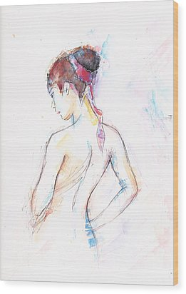 Girl With Red Scarf Wood Print by Jovica Kostic