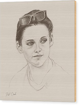 Girl With Shades Wood Print