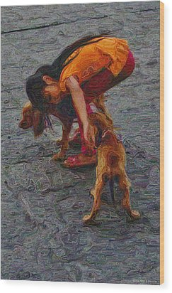 Girl With Two Dogs Wood Print by Mary Machare