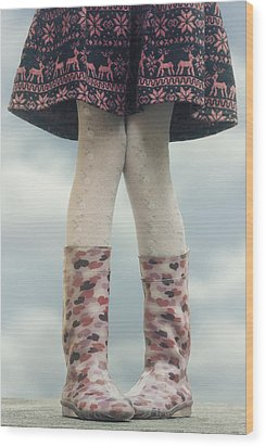 Girl With Wellies Wood Print by Joana Kruse