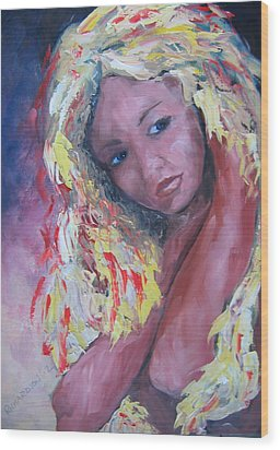 Girl With Yellow Hair Wood Print by Susan Richardson