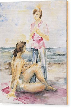 Girlfriends At The Beach Wood Print by Barbara Pommerenke