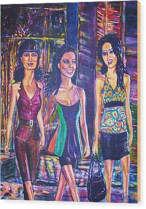 Girlfriends Wood Print by Linda Vaughon