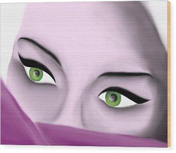 Girl's Eyes Wood Print by Sara Ponte