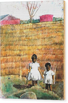 Girls In The Field Wood Print
