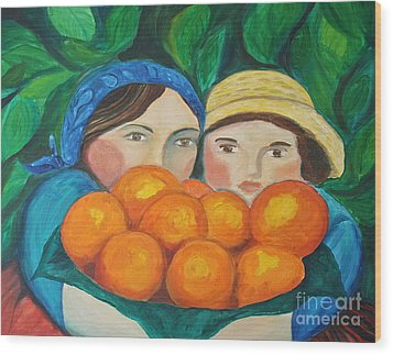 Girls In The Orange Grove Wood Print by Teresa Hutto