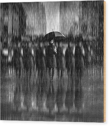 Girls In The Rain Wood Print