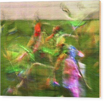 Girls Lacrosse Abstract Wood Print by Susan Leggett