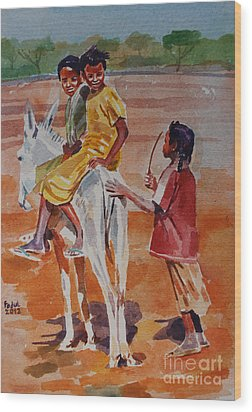Girls Play Wood Print by Mohamed Fadul
