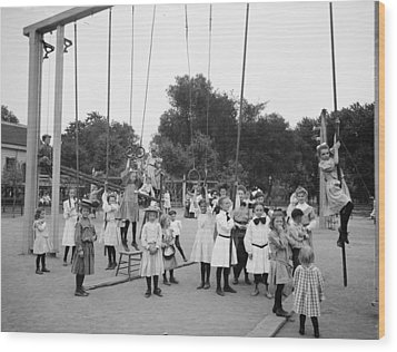 Girls Playground 1899 Wood Print by Steve K