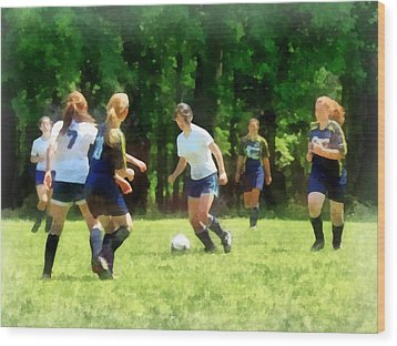 Girls Playing Soccer Wood Print by Susan Savad