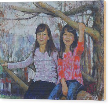 Wood Print featuring the drawing Girls Upon The Tree by Viola El