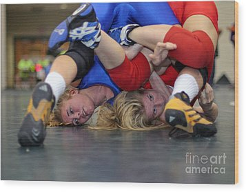 Wood Print featuring the photograph Girls Wrestling Competition by Jim West