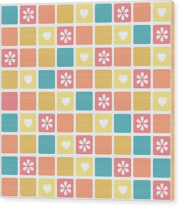 Wood Print featuring the digital art Girly Heart Square Pattern Retro Daisy Flowers by Tracie Kaska