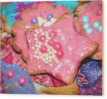 Wood Print featuring the painting Girly Pink Frosted Sugar Cookies by Tracie Kaska