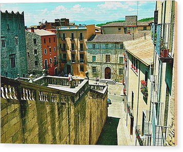 Girona Steps Wood Print by HweeYen Ong