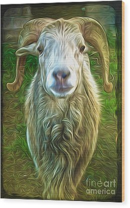 Git Yer Goat Wood Print by Gregory Dyer