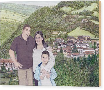 Wood Print featuring the painting Giusy Mirko And Simone In Valle Castellana by Albert Puskaric