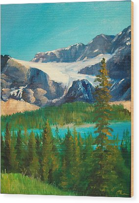 Wood Print featuring the painting Glacier by Ellen Canfield