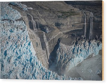 Glacier Icefall And Waterfalls Wood Print