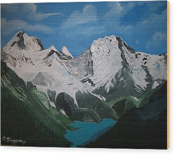 Wood Print featuring the painting Glacier Lake by Sharon Duguay