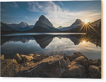 Glacier National Park Wood Print by Larry Marshall