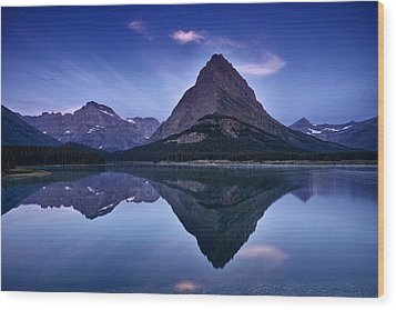 Glacier Park Reflection Wood Print by Andrew Soundarajan