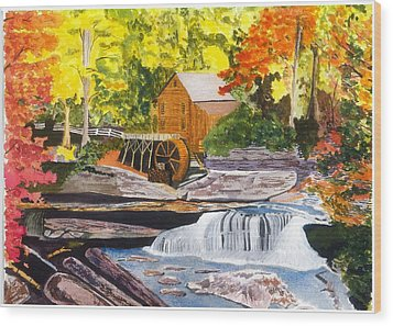 Glade Creek Grist Mill Wood Print by David Bartsch