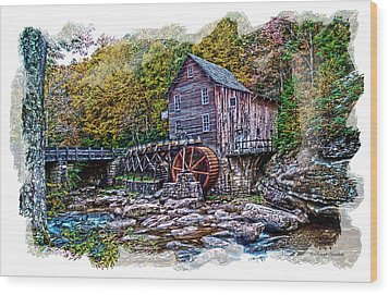 Glade Creek Grist Mill Wood Print by Randall Branham