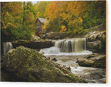 Glade Creek Grist Mill Wood Print by Shane Holsclaw