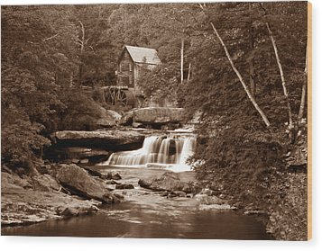 Glade Creek Mill In Sepia Wood Print by Tom Mc Nemar