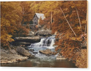 Glade Creek Mill Selective Focus Wood Print by Tom Mc Nemar