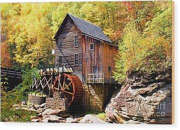 Glade Creek Mill West Virginia Wood Print by Laurinda Bowling