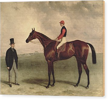 Gladiateur With Harry Grimshaw Up And His Owner Count Frederic De Lagrange Wood Print by Harry Hall