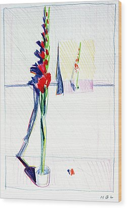 Gladiolas Pic. In Pic. Wood Print by Mark Lunde
