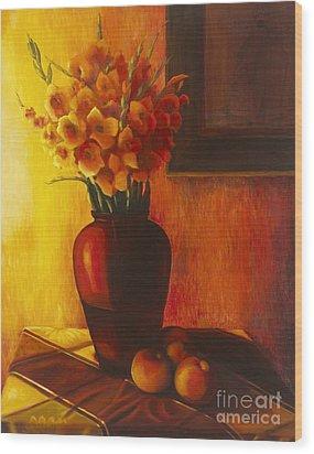 Gladioli Red Wood Print by Marlene Book