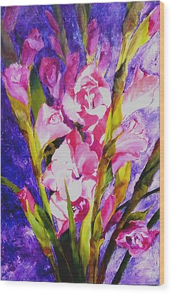Gladiolus Glamour Wood Print by Betty M M   Wong
