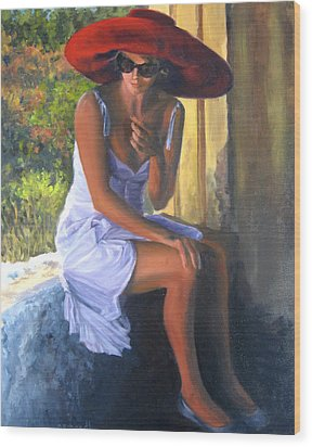 Glamour Of A Red Hat Wood Print