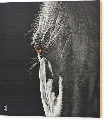 Wood Print featuring the drawing Glance by Elena Kolotusha