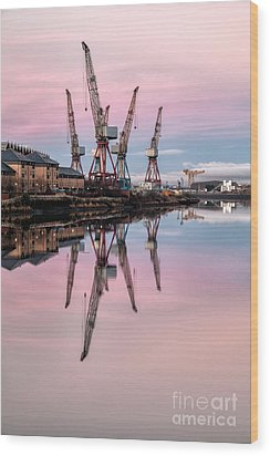 Glasgow Cranes With Belt Of Venus Wood Print by John Farnan
