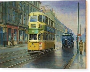 Glasgow Tram. Wood Print by Mike  Jeffries