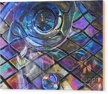 Glass Abstract 262 Wood Print by Sarah Loft