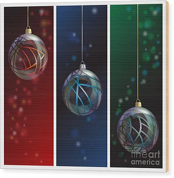 Glass Bauble Banners Wood Print by Jane Rix