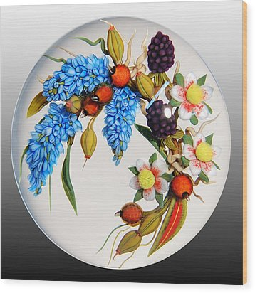 Glass Berries And Blooms Wood Print by Chris Buzzini