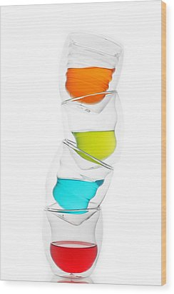 Glass Cups And Colorful Drinking II Liquid Art Wood Print by Paul Ge